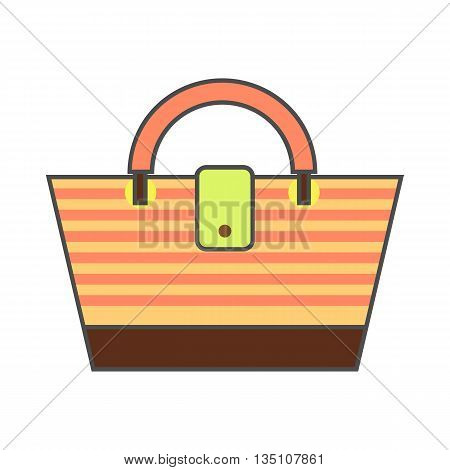 Beach bag vector icon. Colored line icon of striped beach bag