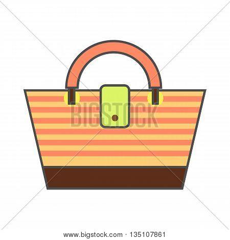 Beach bag vector icon. Colored line icon of striped beach bag