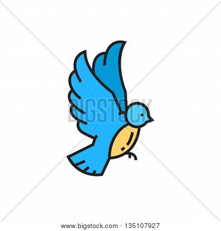 Bird vector icon. Colored line icon of bird with raised wings