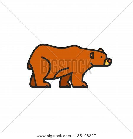 Brown bear vector icon. Colored line illustration of bear