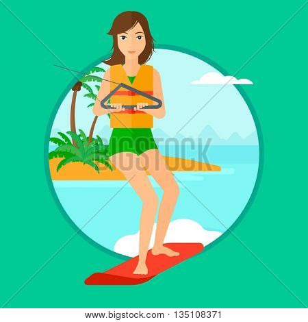 Young sports woman wakeboarding on the sea. Wakeboarder making tricks. Woman studying wakeboarding. Young woman riding wakeboard. Vector flat design illustration in the circle isolated on background.