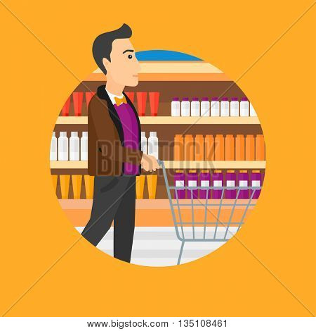 Man pushing empty supermarket cart. Customer shopping at supermarket with cart. Man walking with trolley on aisle at supermarket. Vector flat design illustration in the circle isolated on background.