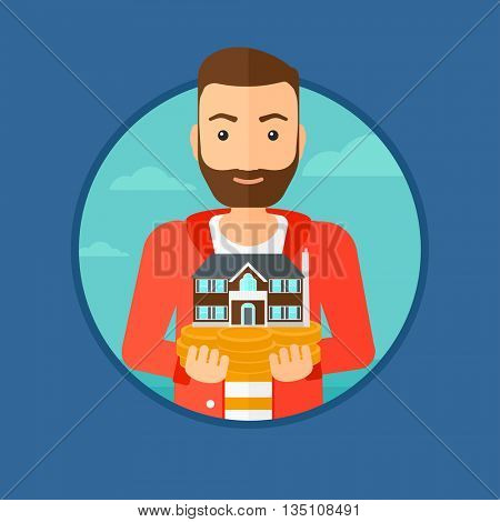 A hipster man with the beard holding house model in hands on the background of sky. Real estate agent with house model. Vector flat design illustration in the circle isolated on background.