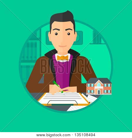 Male real estate agent signing a contract. Young real estate agent sitting at workplace in office with a house model on the table. Vector flat design illustration in the circle isolated on background.