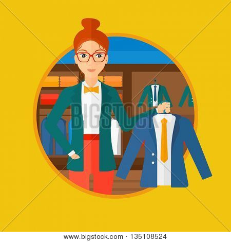 Woman holding hanger with suit jacket and shirt. Woman choosing suit jacket at clothing store. Shop assistant offering jacket. Vector flat design illustration in the circle isolated on background.