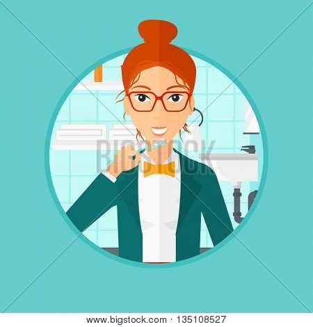 Young woman brushing her teeth with a toothbrush in bathroom. Smiling woman holding toothbrush. Vector flat design illustration in the circle isolated on background.