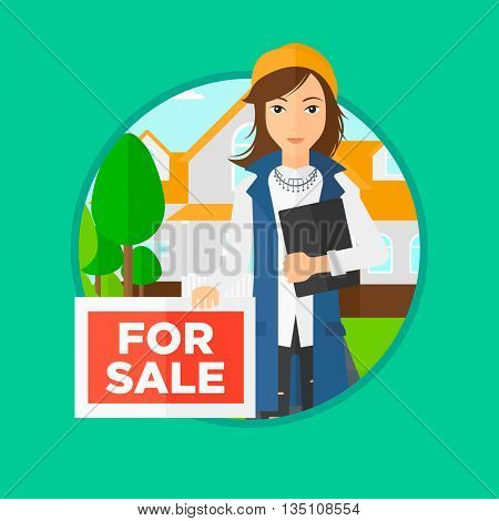 Real estate agent offering the house. Female broker with placard for sale and documents in hands standing in front of the house. Vector flat design illustration in the circle isolated on background.
