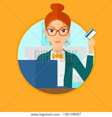 Woman holding a credit card and using laptop for online shopping. Woman shopping online at home. Woman making online payment. Vector flat design illustration in the circle isolated on background.