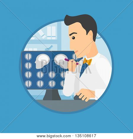 Doctor looking at magnetic resonance images of the brain on a computer screen. Doctor analyzing MRI scan at the medical office. Vector flat design illustration in the circle isolated on background.