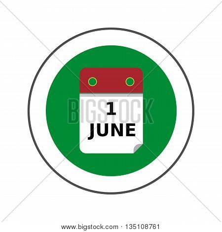 First June calendar page vector icon. Colored illustration of calendar list