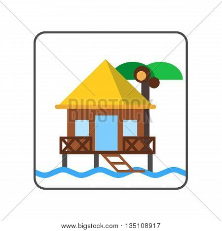Hotel on water icon. Colored line icon of bungalow