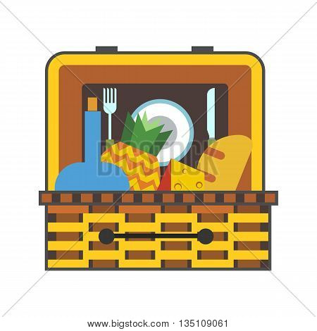 Picnic basket vector icon. Colored line icon of basket with food for picnic