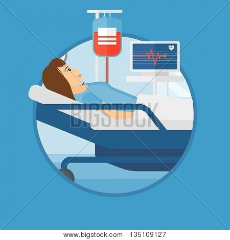 Young woman lying in bed at hospital ward. Patient with heart rate monitor and equipment for blood transfusion in medical room. Vector flat design illustration in the circle isolated on background.