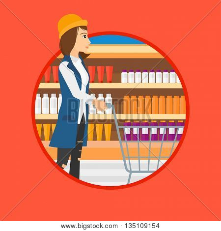 Woman pushing empty supermarket cart. Woman shopping at supermarket with cart. Woman walking with trolley on aisle at supermarket. Vector flat design illustration in the circle isolated on background.