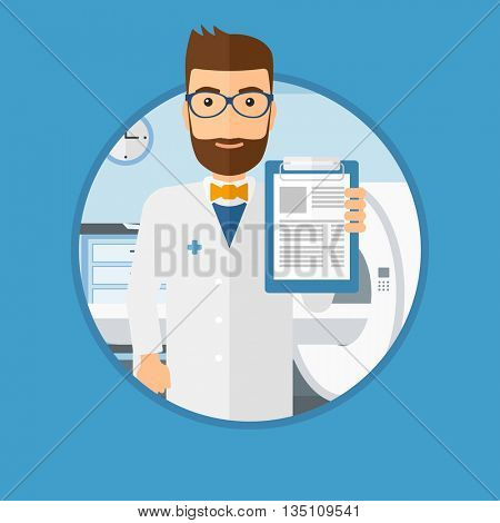 Male doctor showing clipboard with prescription. Doctor holding clipboard on the background of hospital room with MRI machine. Vector flat design illustration in the circle isolated on background.
