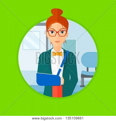 An injured woman wearing an arm brace. Woman with broken right arm standing in the hospital corridor. Patient with injured arm. Vector flat design illustration in the circle isolated on background.