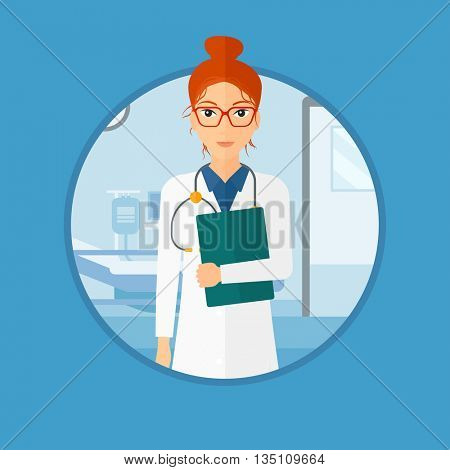 Friendly doctor with stethoscope and a file in medical office. Female doctor carrying folder of patient or medical information. Vector flat design illustration in the circle isolated on background.