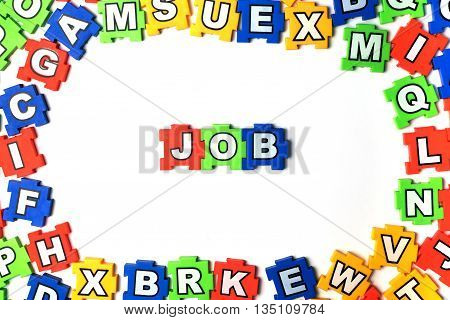 Puzzle JOB on white background. jigsaw, puzzle