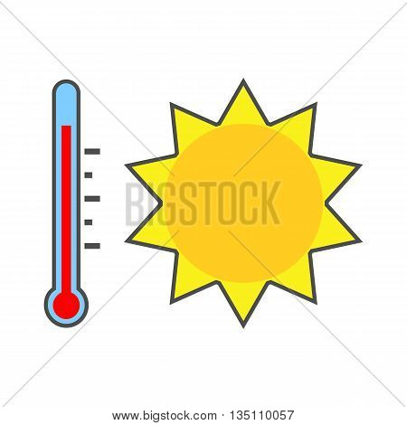 Summer heat icon. Colored line icon of sun and thermometer