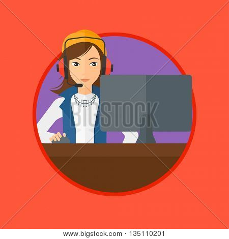 Young woman playing computer games. Gamer in headphones playing online games. Concentrated gamer using computer for playing game. Vector flat design illustration in the circle isolated on background.