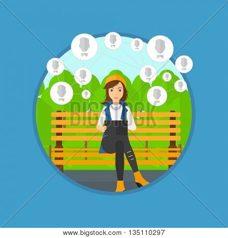 Young woman sitting on a bench in the park and using a tablet computer with network avatar icons above. Social network concept. Vector flat design illustration in the circle isolated on background.