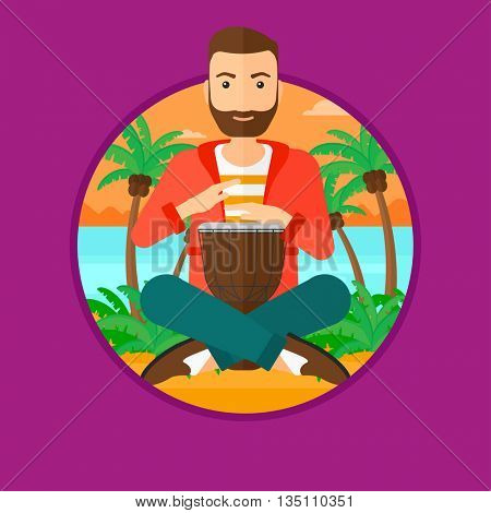 A hipster man with the beard playing ethnic drum. Mucisian playing ethnic drum on the beach. Man playing ethnic music on tom-tom. Vector flat design illustration in the circle isolated on background.