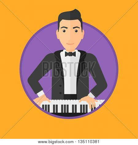 Young musician playing piano. Pianist playing upright piano. Male artist playing on synthesizer. Vector flat design illustration in the circle isolated on background.