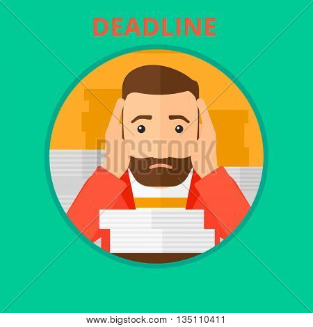 Stressed hipster businessman sitting at the table with stacks of papers and having problem with deadline. Deadline concept. Vector flat design illustration in the circle isolated on background.
