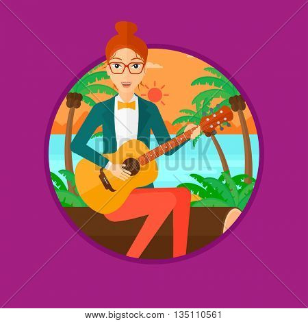 Musician sitting on log and playing an acoustic guitar. Woman practicing in playing guitar. Guitarist playing on the beach. Vector flat design illustration in the circle isolated on background.