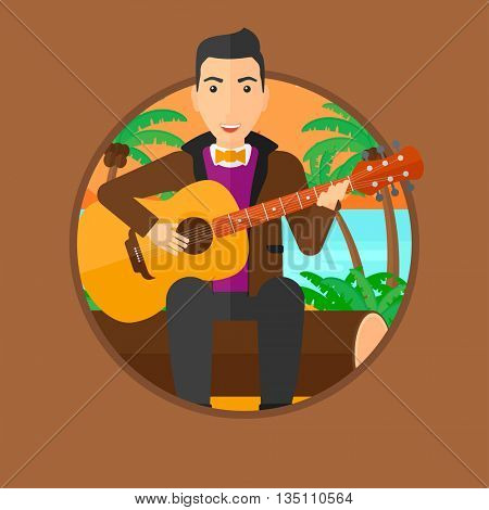Musician sitting on log and playing an acoustic guitar. Man practicing in playing guitar. Guitarist playing on the tropical beach. Vector flat design illustration in the circle isolated on background.