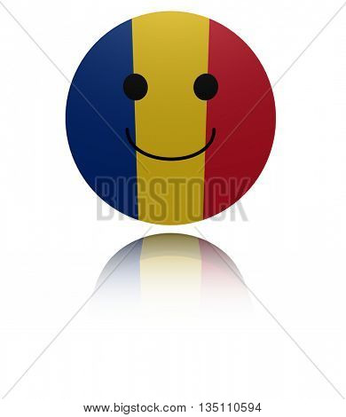 Romania happy icon with reflection 3d illustration