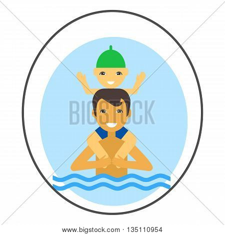 Swimming father and child vector icon. Colored line icon of man standing in water and holding boy on his shoulders