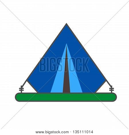 Tent vector icon. Colored line illustration of portable tent