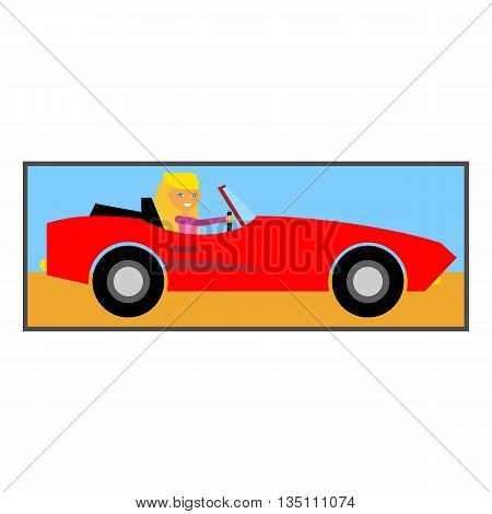 Woman in cabriolet icon. Colored line illustration of female character driving cabriolet