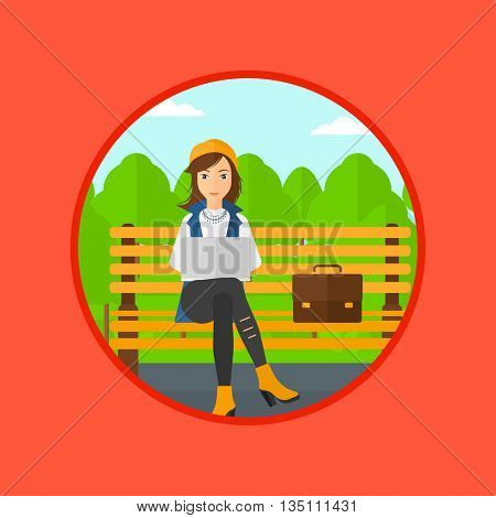 Young business woman with briefcase working in the park. Woman working on a laptop. Business woman sitting on a bench with laptop. Vector flat design illustration in the circle isolated on background.