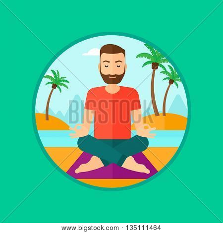 A hipster man with the beard meditating in yoga lotus pose on the beach. Man relaxing on the beach in the yoga lotus position. Vector flat design illustration in the circle isolated on background.