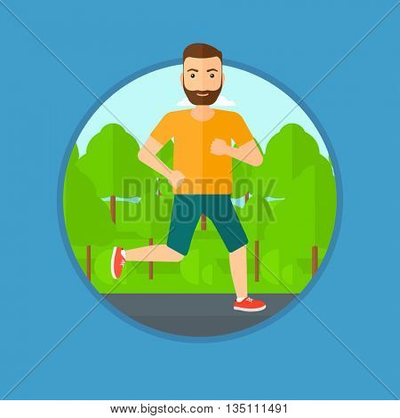 Young hipster man with the beard running. Male runner jogging outdoors. Sportsman running in the park. Running man on forest road. Vector flat design illustration in the circle isolated on background.