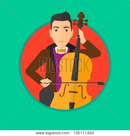Young man playing cello. Cellist playing classical music on cello. Young man with cello and bow. Vector flat design illustration in the circle isolated on background.