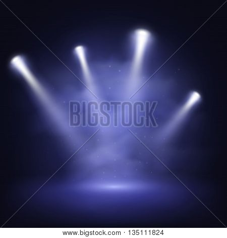 Illuminated stage with scenic lights and smoke, vector EPS10