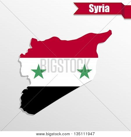 Syria map with flag inside and ribbon
