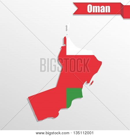 Oman map with flag inside and ribbon