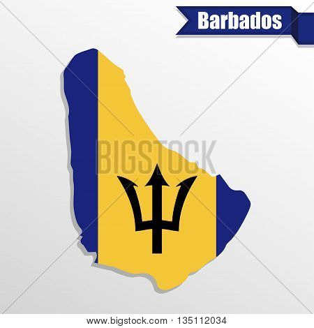 Barbados map with flag inside and ribbon