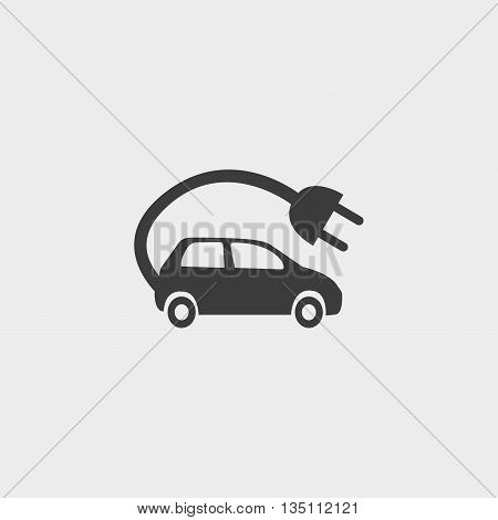 electric car Icon in a flat design in black color. Vector illustration eps10
