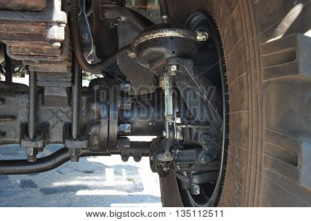 Heavy truck suspension and transmission - front wheel close up view