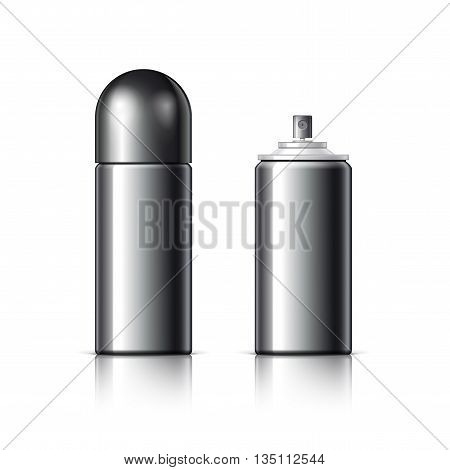 Realistic Black Cosmetics Bottle Can Spray