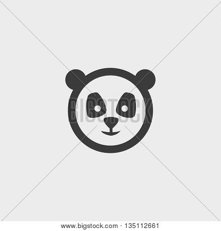 panda Icon in a flat design in black color. Vector illustration eps10