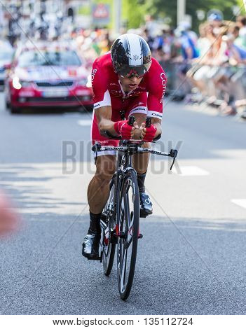 Utrecht, Netherlands - 04 July 2015: The French cyclist Julien Simon of Cofidis Team riding during the first stage (individual time trial ) of Le Tour de France 2015 in Utrecht Netherlands on 04 July 2015.