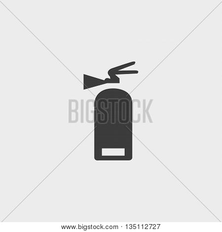 fire extinguisher icon in a flat design in black color. Vector illustration eps10
