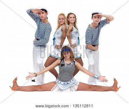 Carnival dancer team dressed as sailors. Retro fashion style, isolated on white background in full length.