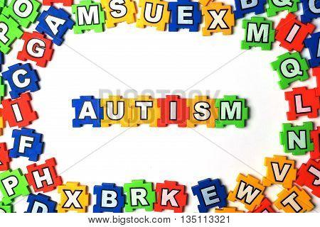 Puzzle autism on white background. jigsaw, puzzle,